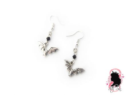 Antique Silver Bat Earrings